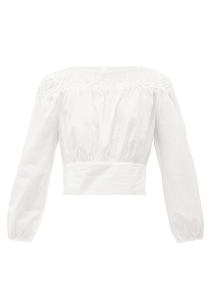 Soller Smocked Cotton-Lawn Blouse