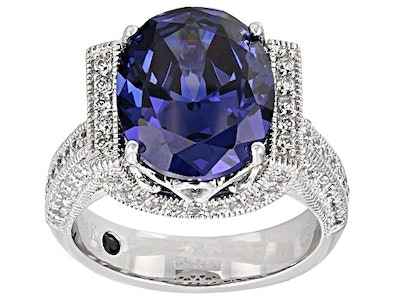 Blue And White Cubic Zirconia Platineve Ring