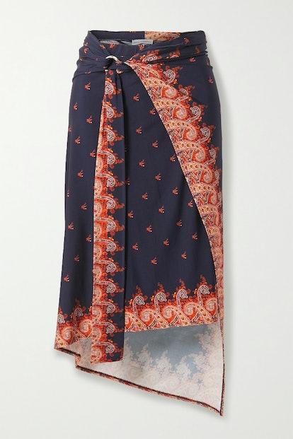 Wrap-Effect Printed Stretch-Jersey Midi Skirt