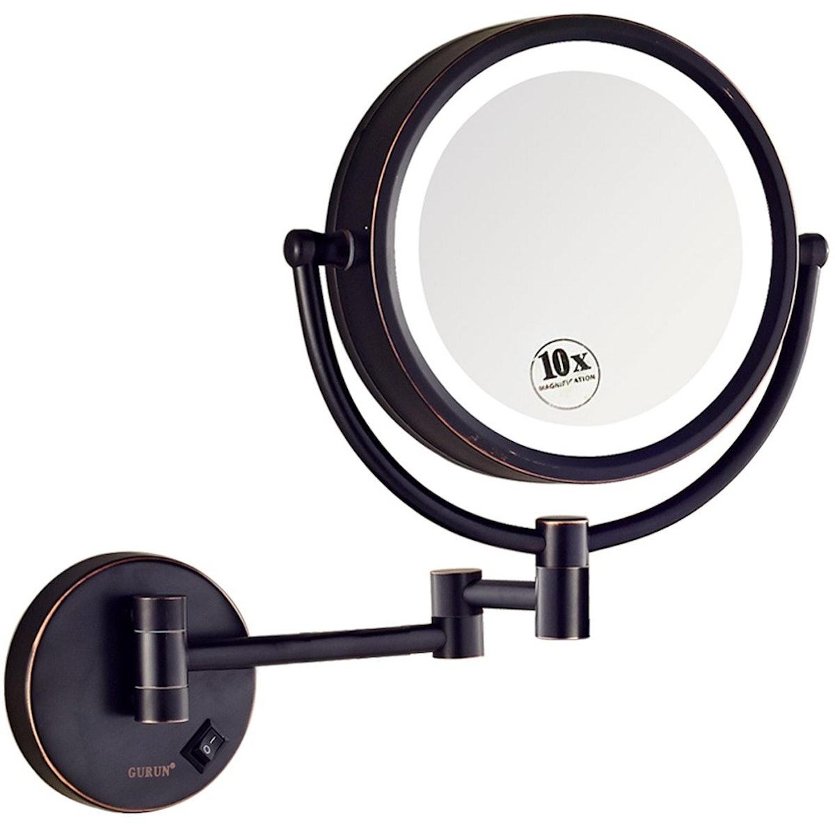 GURUN LED Lighted Wall Mount Makeup Mirror