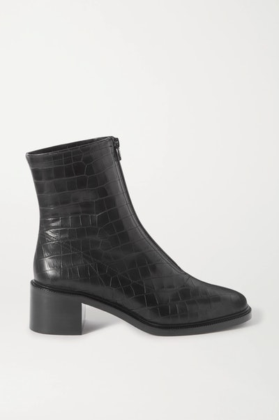 Bruna Croc-Effect Leather Ankle Boots