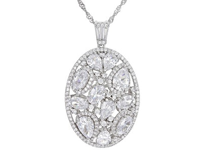 White Cubic Zirconia Rhodium Over Sterling Silver Pendant With Chain