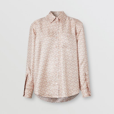 Monogram Print Silk Twill Shirt
