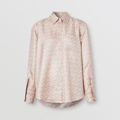 Monogram Print Silk Twill Shirt
