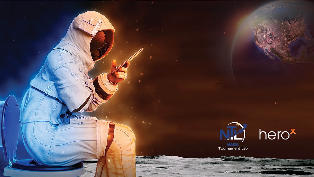 NASA Lunar Loo Challenge graphic depicting an astronaut on a toilet.