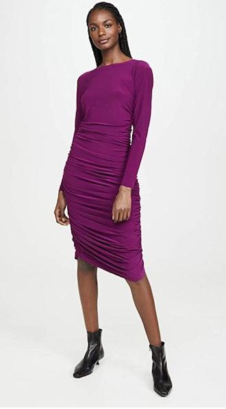 Norma Kamali Women's Long Sleeve Shirred Dress