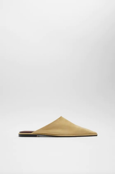 Square Toe Flat Leather Mules