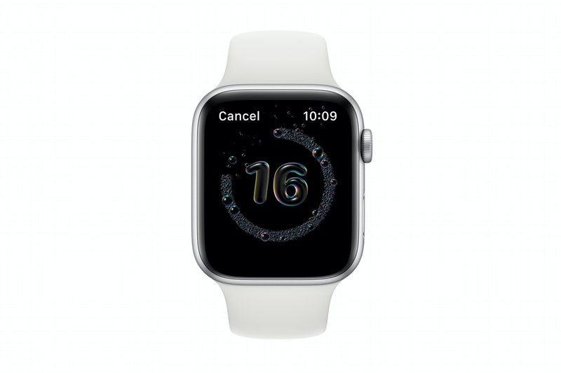 An Apple watch with the new handwashing feature.