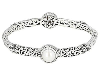 White Mabe Pearl Silver Bangle Bracelet