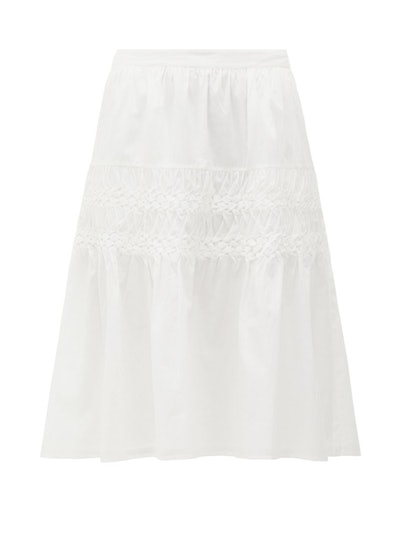 Castell Smocked Cotton-Lawn Skirt