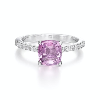 Pink Spinel Diamond Ring