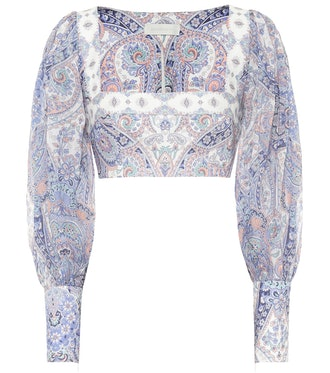 Paisley Ramie and Linen Cropped Blouse