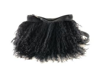 Pom Pom Mongolian Fur & Leather Waist Bag