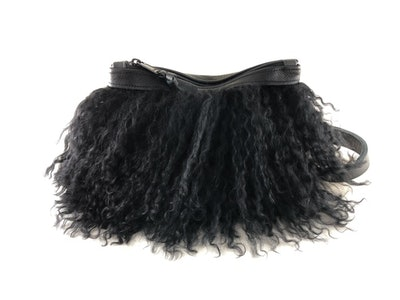 Pom Pom Mongolian Fur & Leather Waist Bag