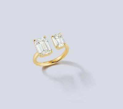 Bespoke Emerald Cut Diamond Open Ring