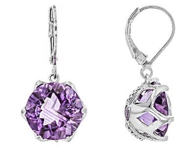 Purple Brazilian Amethyst Rhodium Over Sterling Silver Dangle Earrings