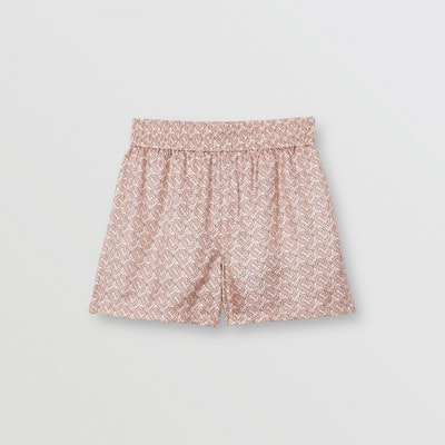 Monogram Print Silk Twill Shorts