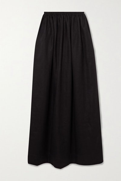 Pleated Linen And Cotton Blend Maxi Skirt