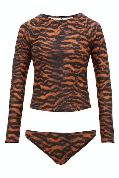 The Upside Imogen Tiger-Print Rash Guard and Bikini Briefs