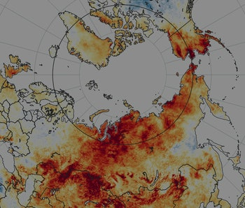 Temperature anomalies from March 19 to June 20 2020. Red colors depict areas that were hotter than a...