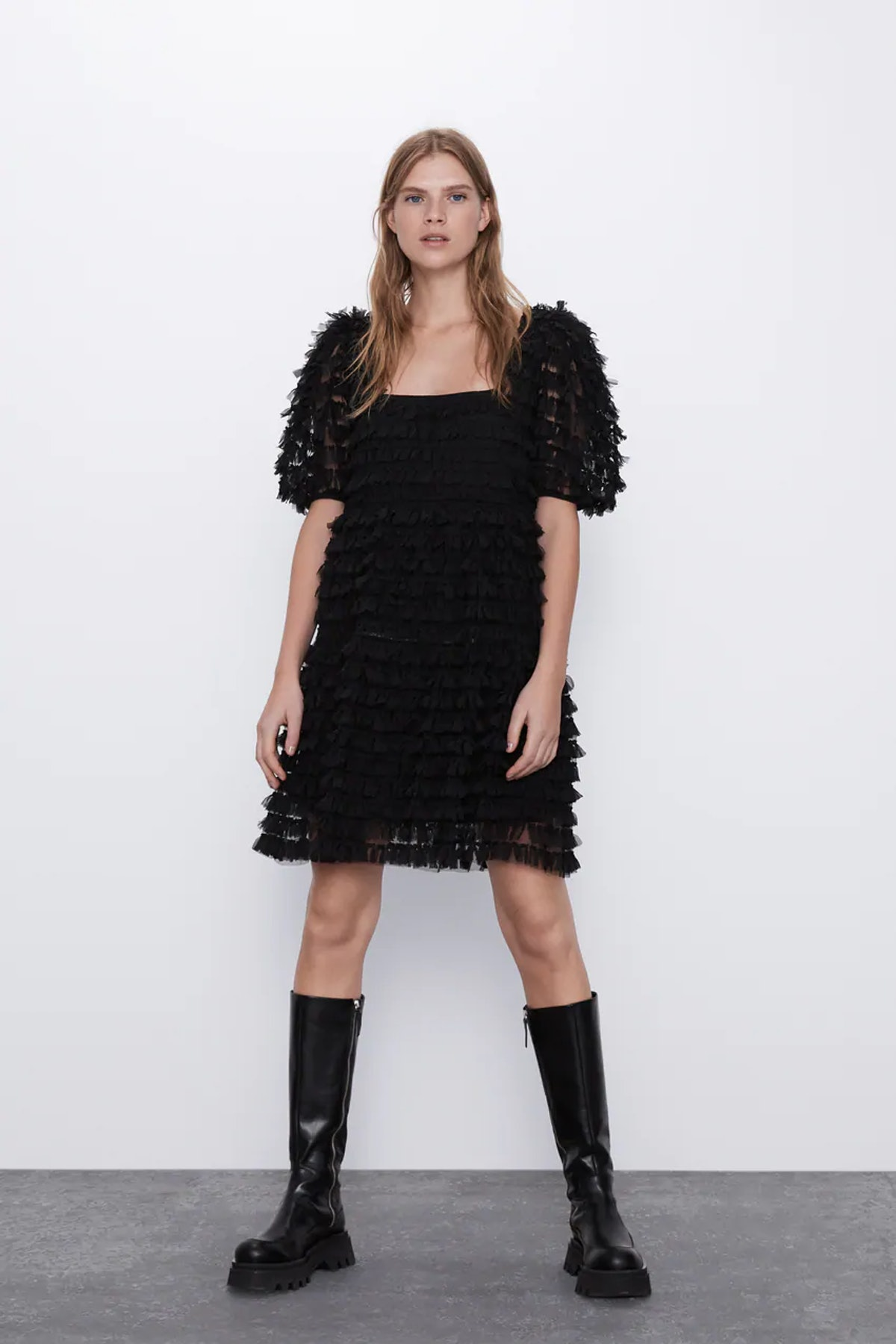Tulle Dress with Fringes