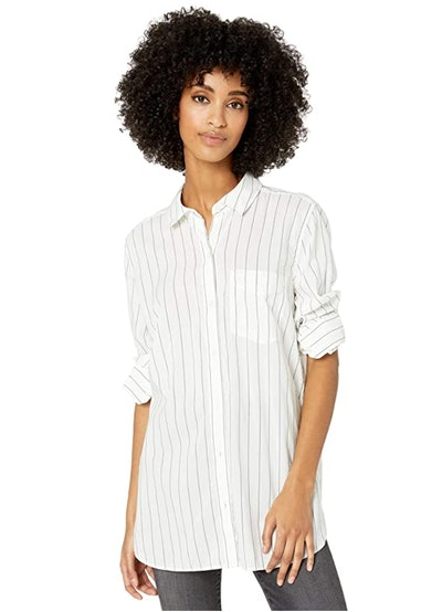 Goodthreads Lightweight Poplin Long-Sleeve Button-Front Tunic Shirt