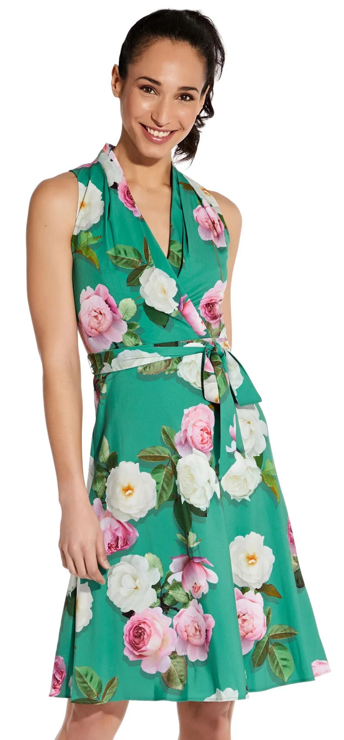 Peony Printed Halter Dress