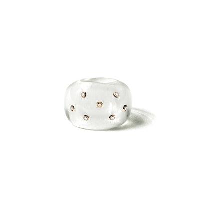 Resin Globe Ring with 7 Diamonds