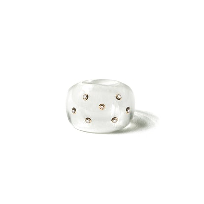 Resin Globe Ring with 7 Diamonds