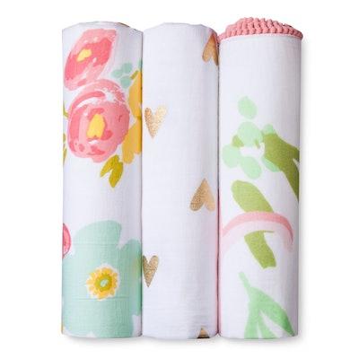 Muslin Swaddle Blankets Floral 3pk - Cloud Island™