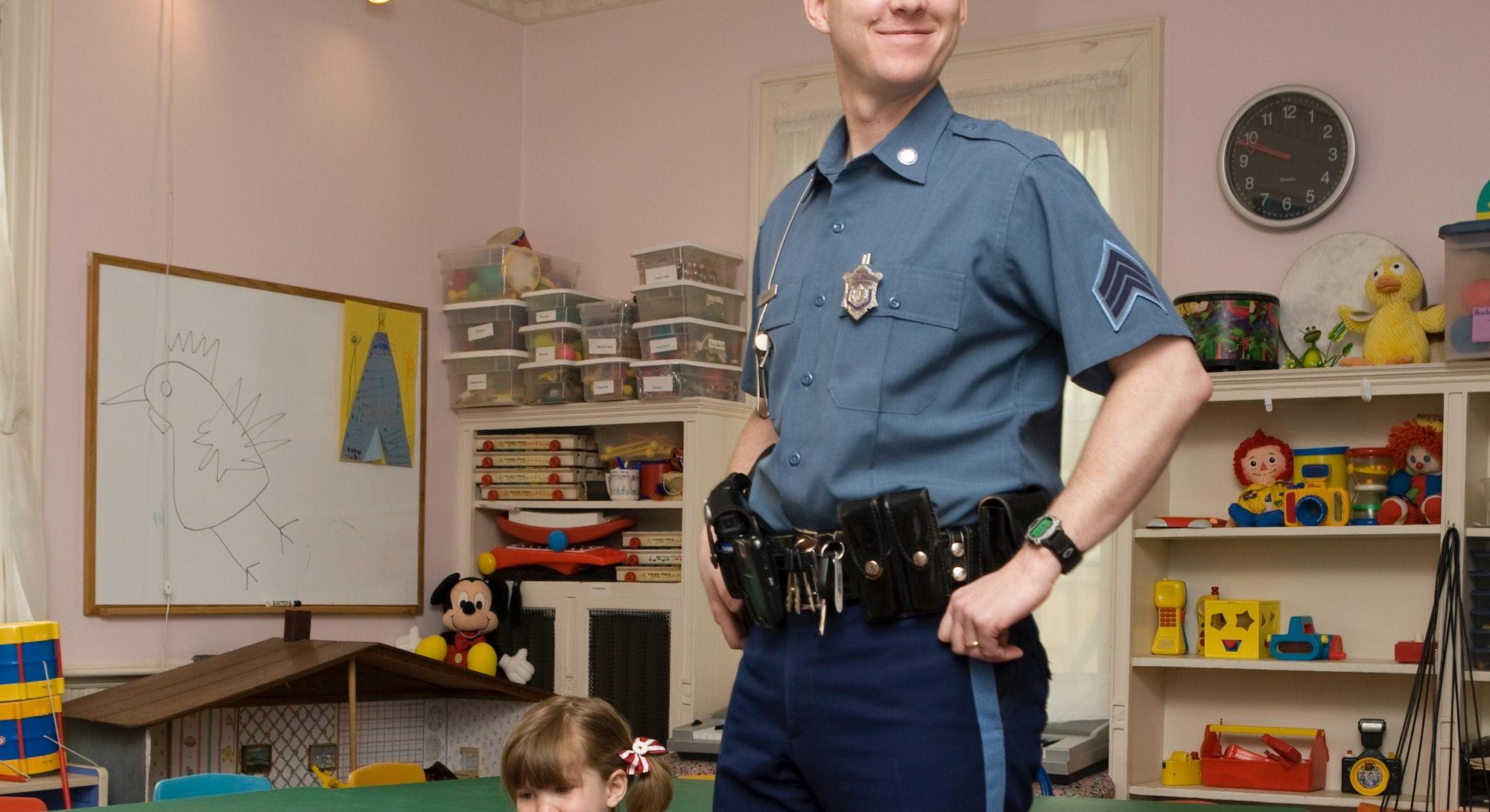 police officer in school classroom