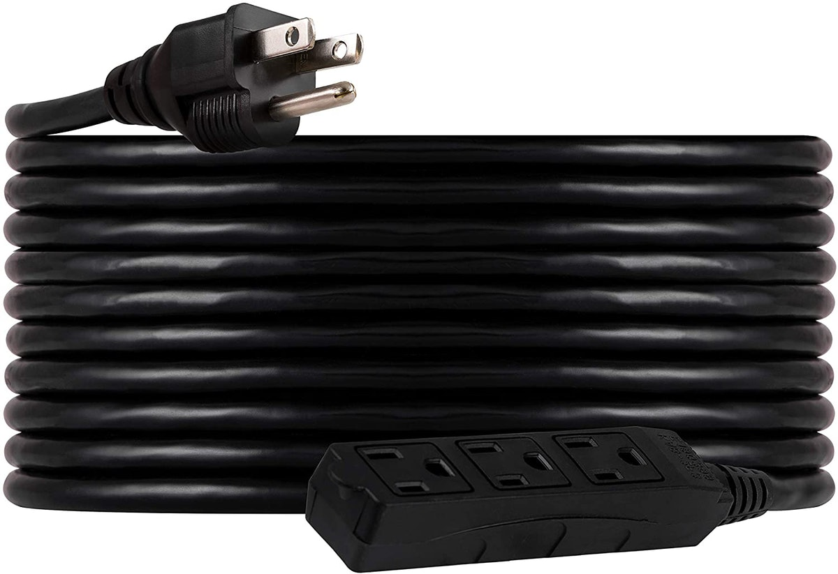 UltraPro, Black, GE 25 ft Extension, 3 Outlet, Indoor/Outdoor, Grounded, Double Insulated Cord