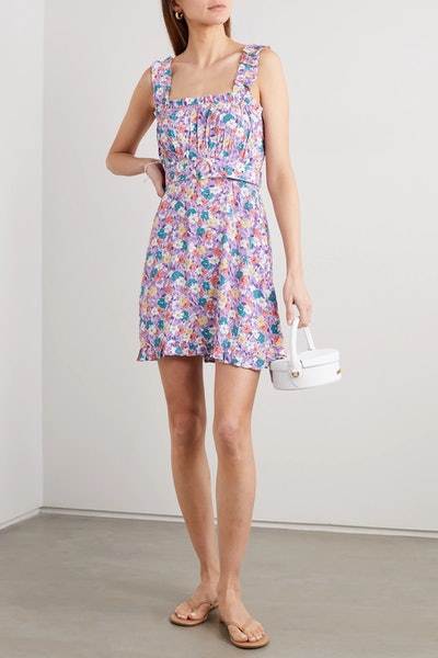 Mid Summer floral-print crepe mini dress