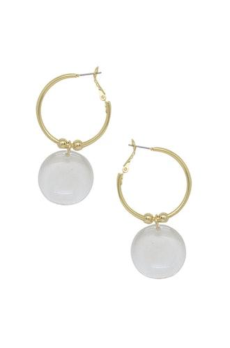 Clear Resin Circle Hoop 18k Gold Plated Earrings