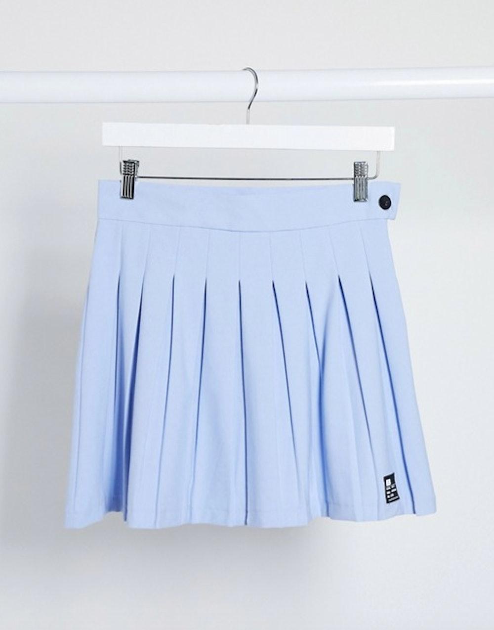 Bershka pleated skirt in blue