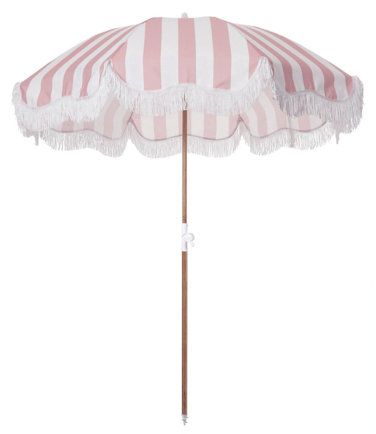 The Holiday Beach Umbrella - Pink Crew Stripe