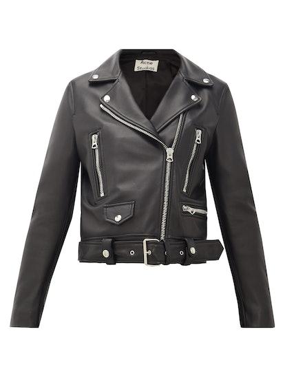 Mock Smooth-Leather Biker Jacket