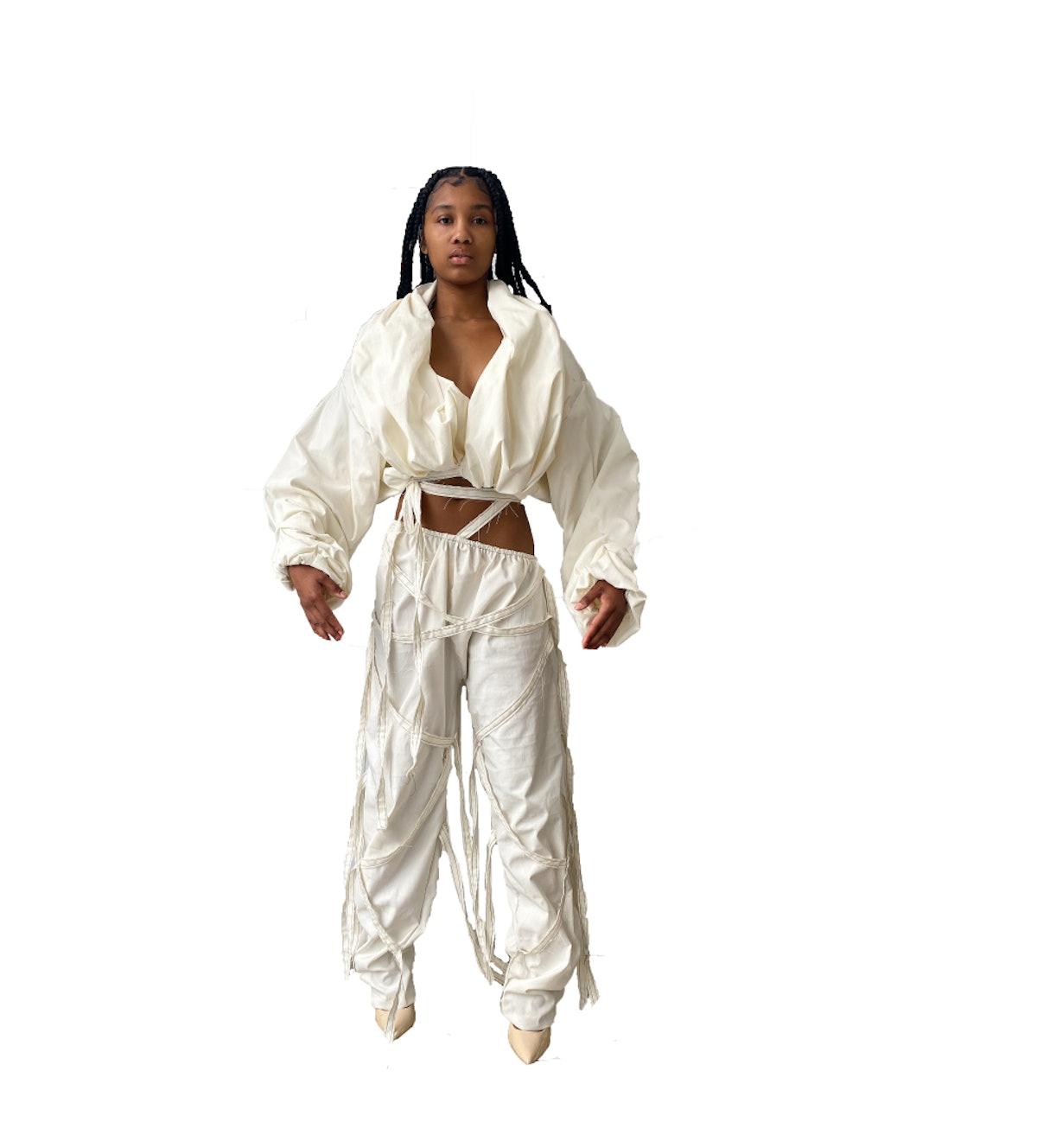 TLZ L'Femme Ivory Denim Strap Trouser