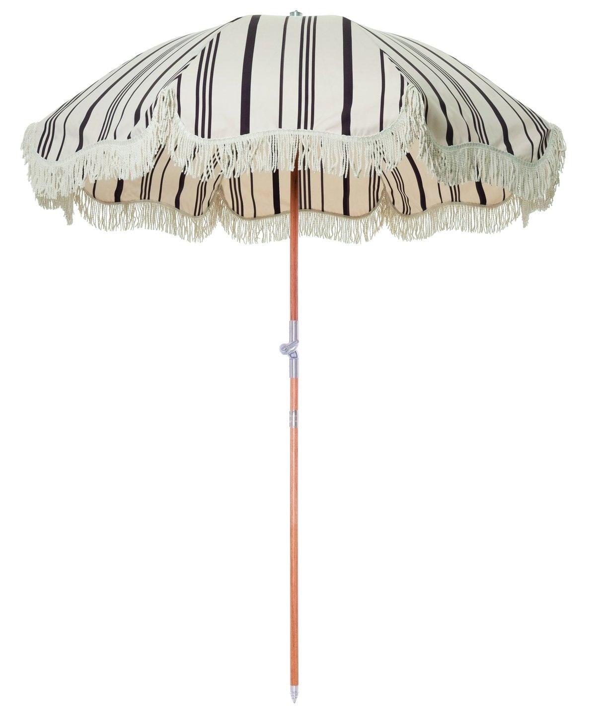 The Premium Beach Umbrella - Vintage Black Stripe