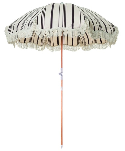 The Premium Beach Umbrella - Vintage Black Stripe