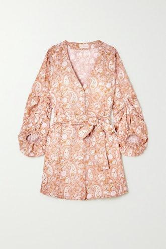 Ischia Belted Printed Linen Mini Dress
