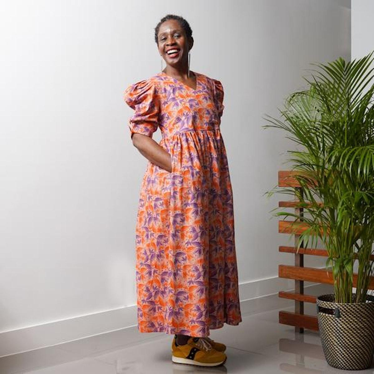 Olushade Cotton Leaf Print V-neck Wrap Front Dress