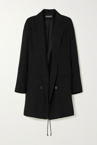 Double-Breasted Lace-Up Wool-Twill Blazer
