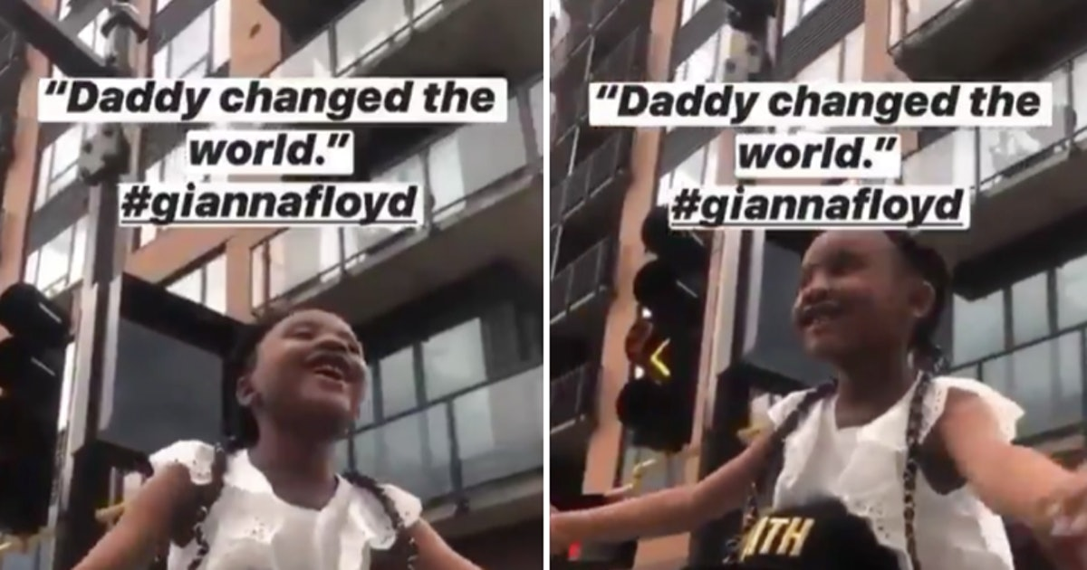 "George Floyd's 6-Year-Old Daughter Says Her Dad ""Changed The World"" At Protest"