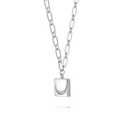 Estee LaLonde Luna Lock Necklace in Sterling Silver