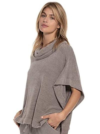 Barefoot Dreams CozyChic Ultra Lite Cowl Neck Poncho Sweater