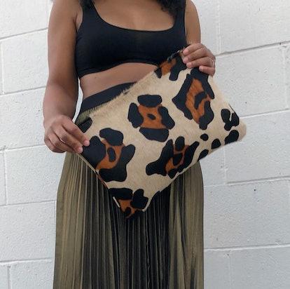 Large Scale Leopard Calf Hair Clutch