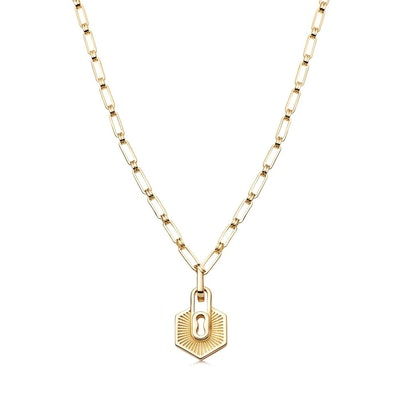 Gold textured padlock chain necklace