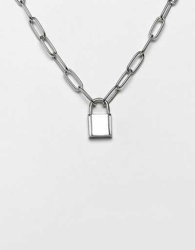Necklace with hardware chain and padlock in silver