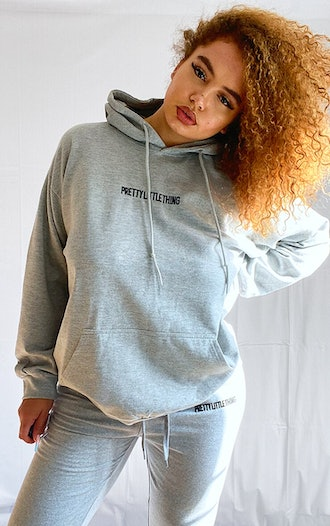 PLUS GREY EMBROIDERED HOODIE